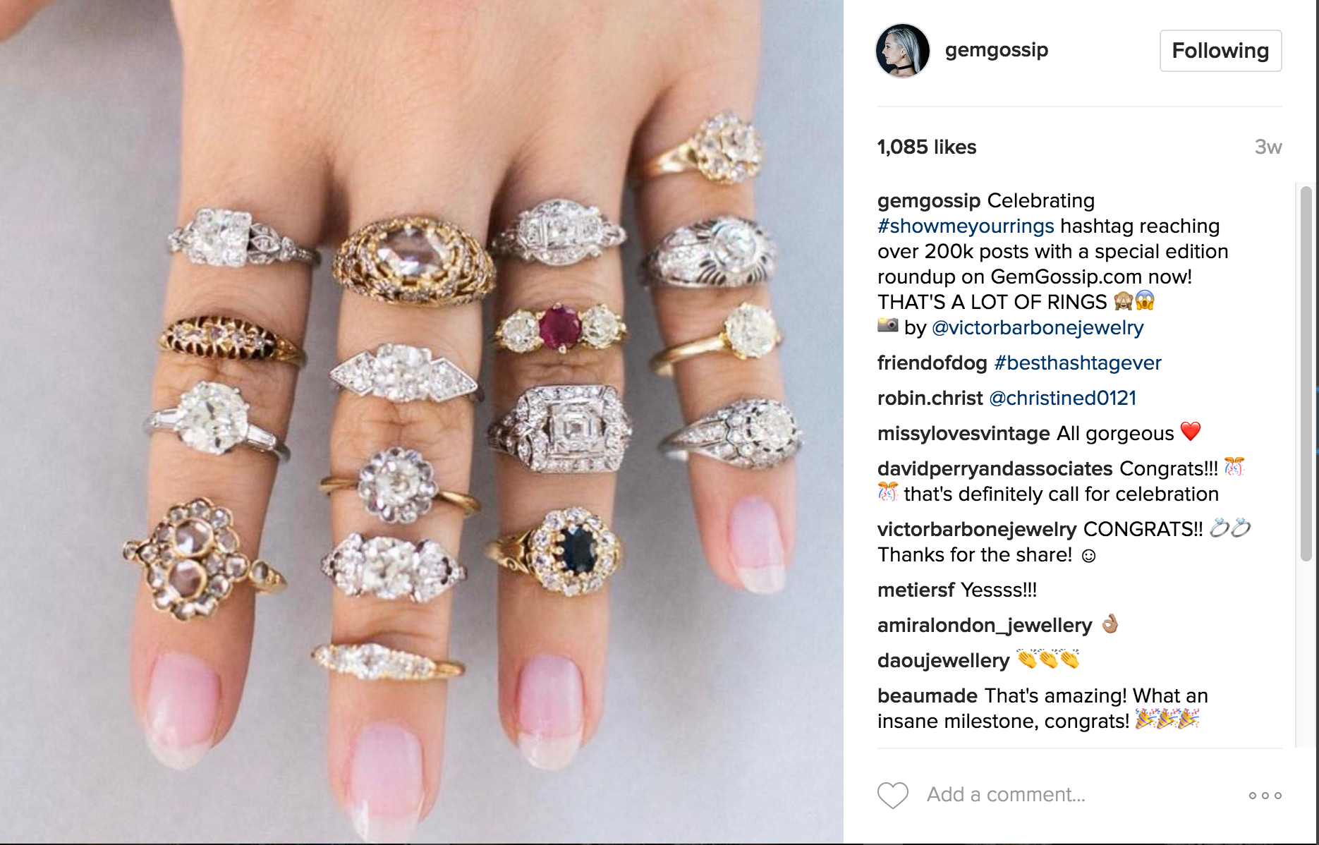 Gem Gossip #showmeyourrings Instagram | JCK Social Setting