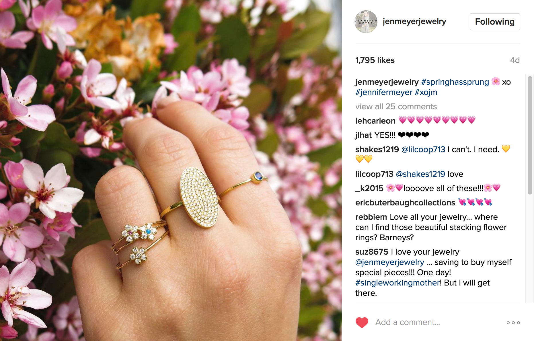Jen Meyer Jewelry Instagram | JCK Social Settings