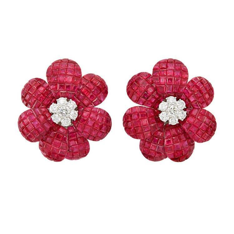 iamond flower ear clips