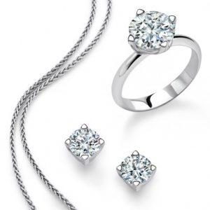 diamond earrings, chain, and ring