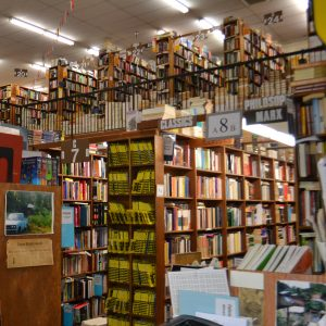 bookstore shelves filled with books