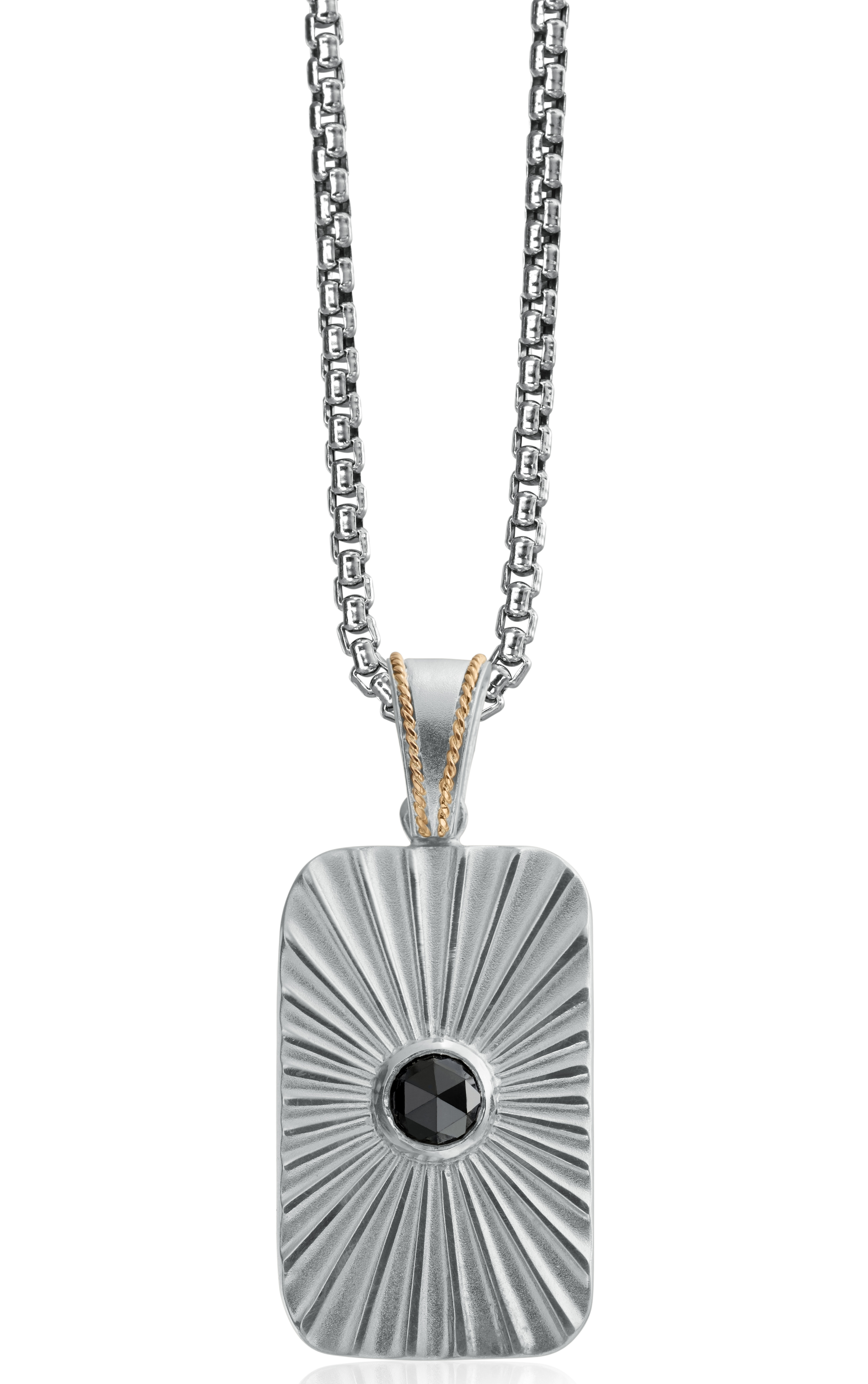 Daniel Bass rose-cut black diamond dog tag | JCK On Your Market