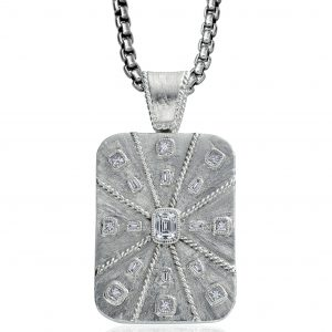 Daniel Bass emerald-cut diamond dog tag | JCK On Your Market