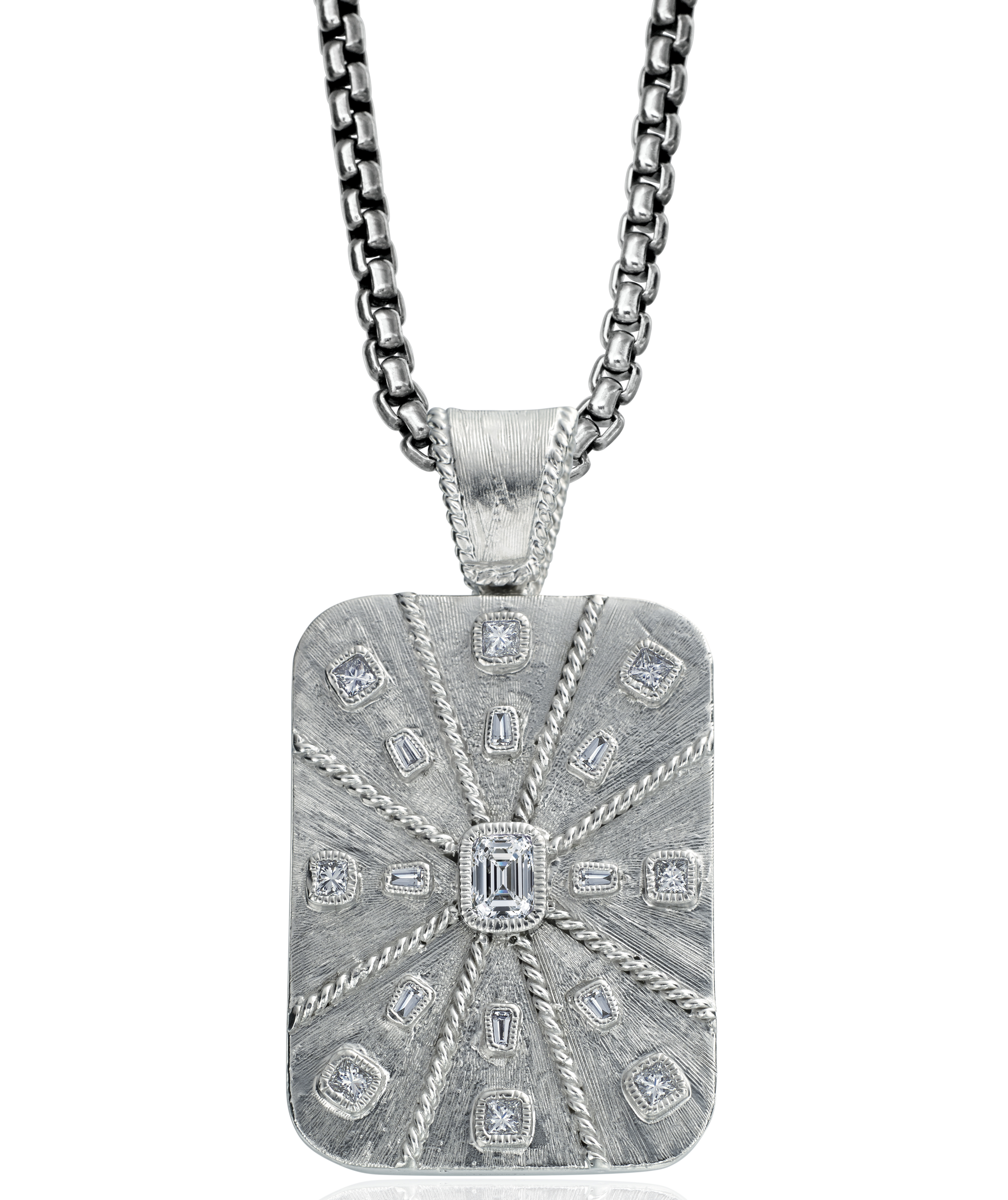 Daniel Bass emerald-cut diamond dog tag | JCK On Your Market