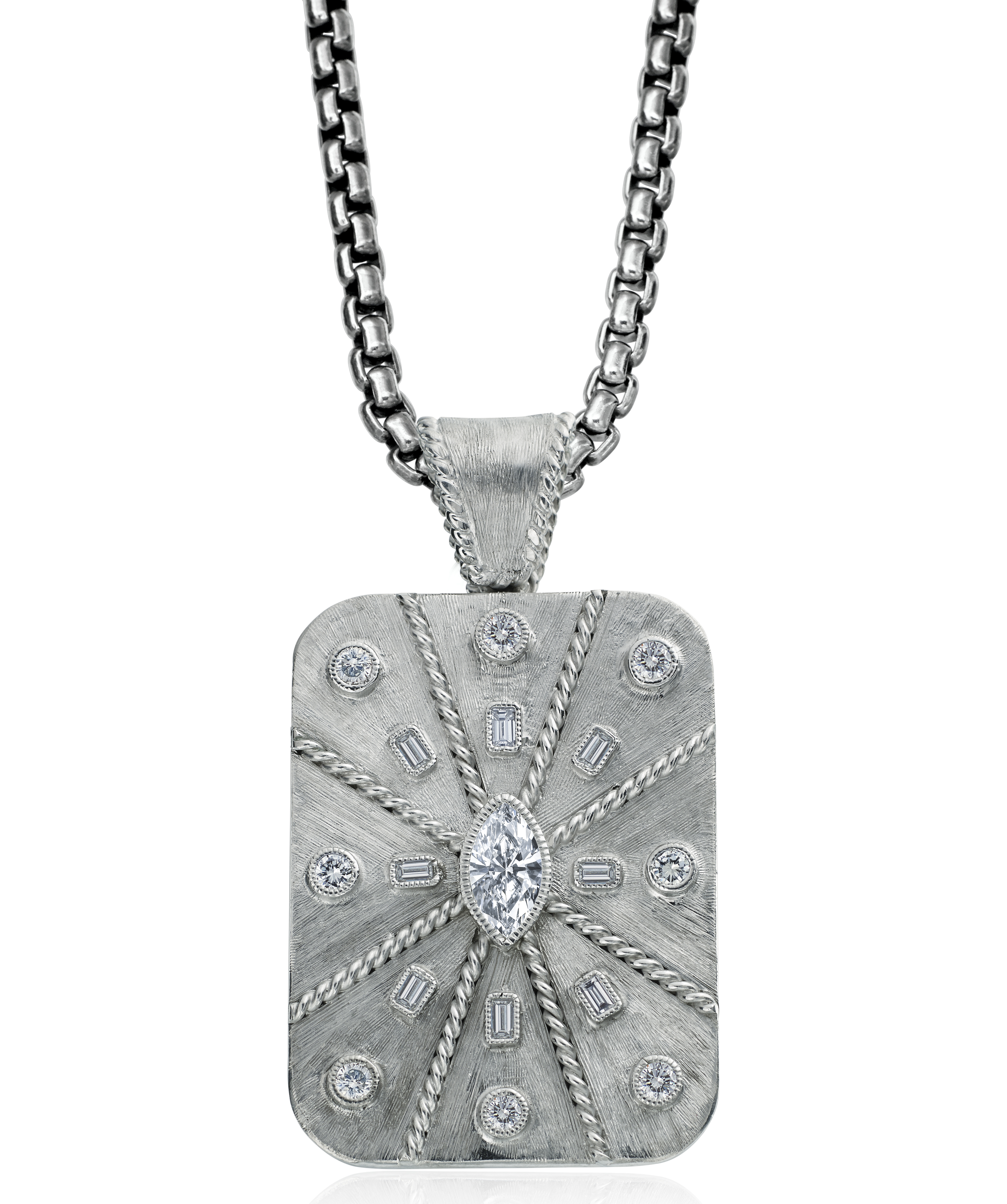 Daniel Bass marquise diamond dog tag | JCK On Your Market