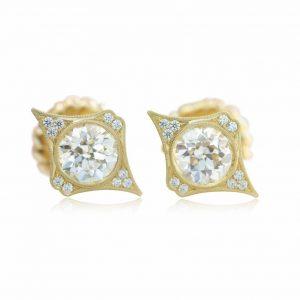 Erika Winters diamond earrings in yellow gold