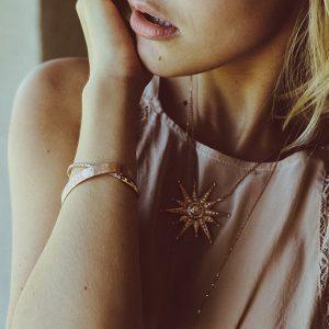 Julez Bryant bracelet and necklace on model