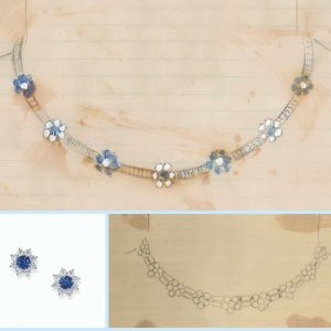 Sunflower necklace and earrings by Harry Winston