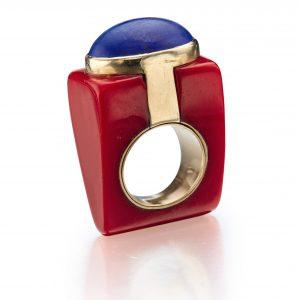 resin and lapis lazuli ring