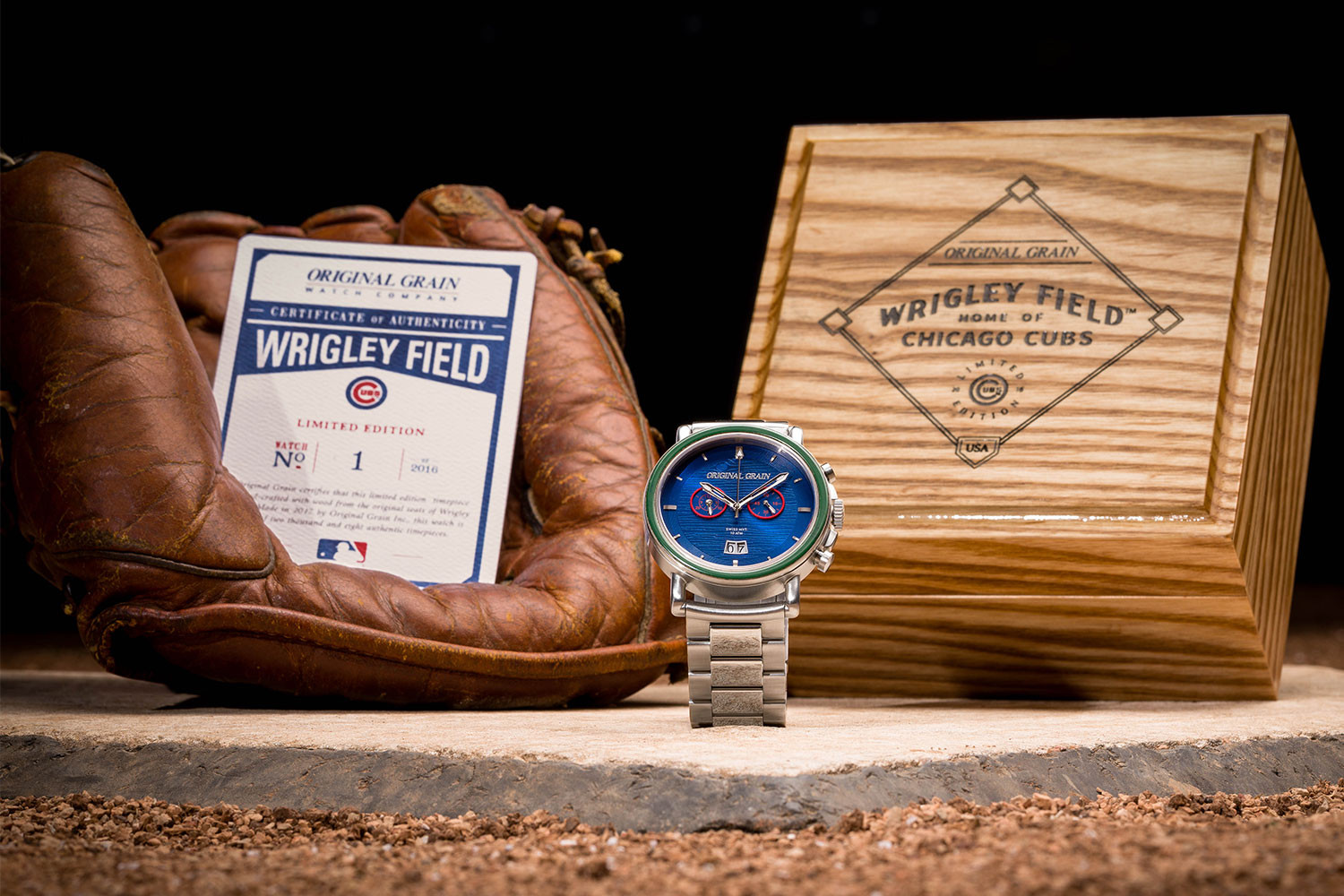 Wrigley Field Chrono watch with collectible box and baseball glove