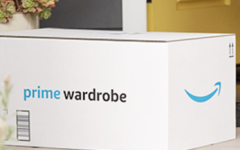 Amazon Prime Wardrobe box in front of a door