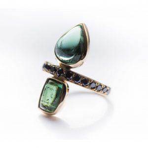 Lindley Gray diamond and tourmaline ring