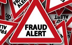graphic showing layered signs reading fraud alert