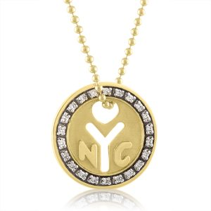 Pendant necklace in the shape of subway token