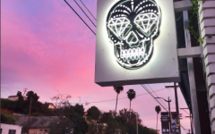 Lighted skull sign outside Esqueleto LA store
