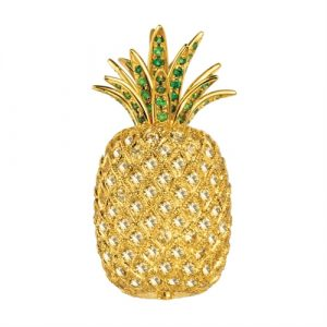 Scully and Scully Pineapple Pin with yellow sapphires, tsavorites, and diamonds in 18k gold