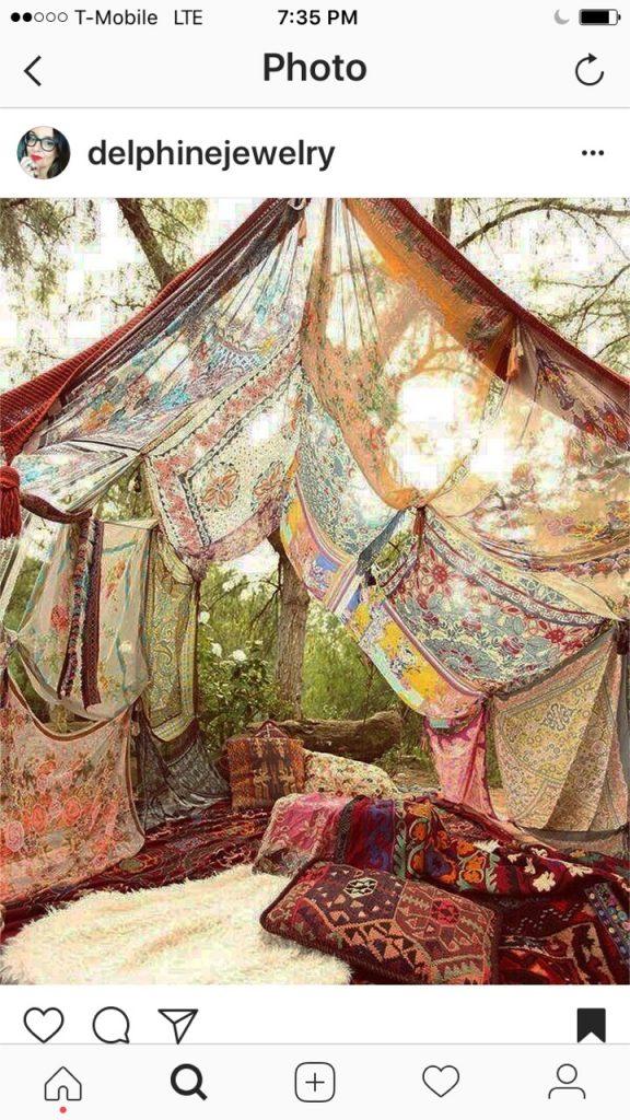 Delphine instagram tent in woods