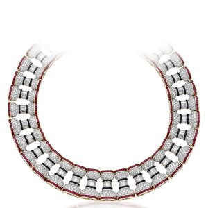 1980s La Colonna Romana necklace with square-cut rubies, baguette diamonds, and onyx in 18k yellow and white gold
