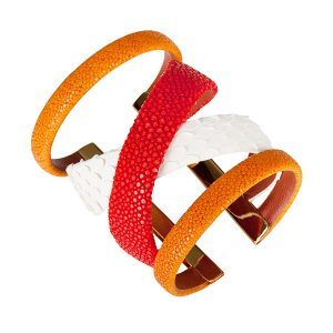 Cristina Sabatini Gladiator Cuff in 18k gold-plated brass with snow python leather and tangerine and coral stingray leather