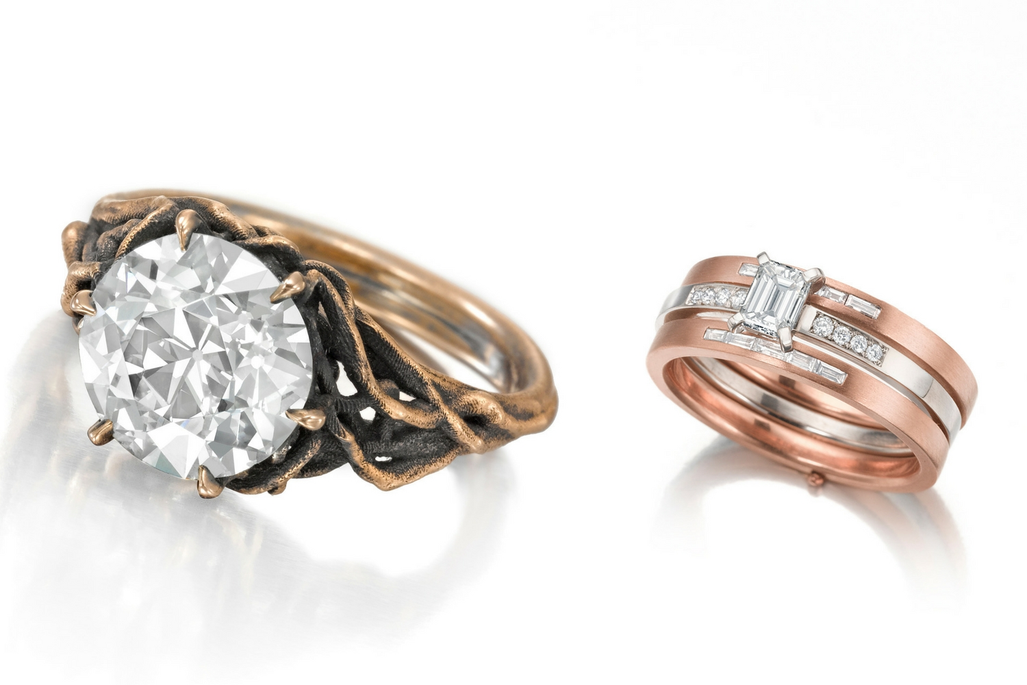 Custom engagement ring and Helen Perma-Stacked Ring