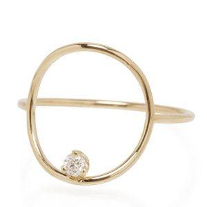 Prong-set diamond circle ring