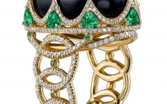 Royal ring in black jade with mahengue spinel and tsavorite garnet