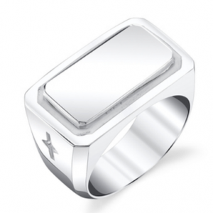 Men's Plate ring in sterling silver with white enamel