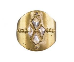 Polly Wales Diamond Kite Shield ring