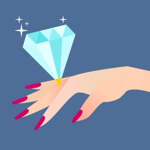 Illustrated woman's hand with a large diamond resting on top of the ring finger