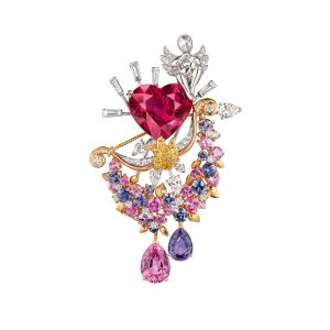 Secret des Amoureux clip with heart-shape rubellite