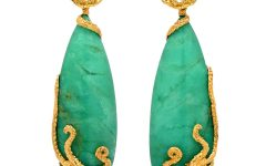 Octopus Earrings with chrysoprase and white sapphires in 18k gold and silver
