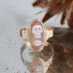 Melissa Joy Manning ring with skull and eye