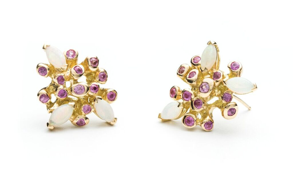 Starburst with pink sapphires and marquise opals
