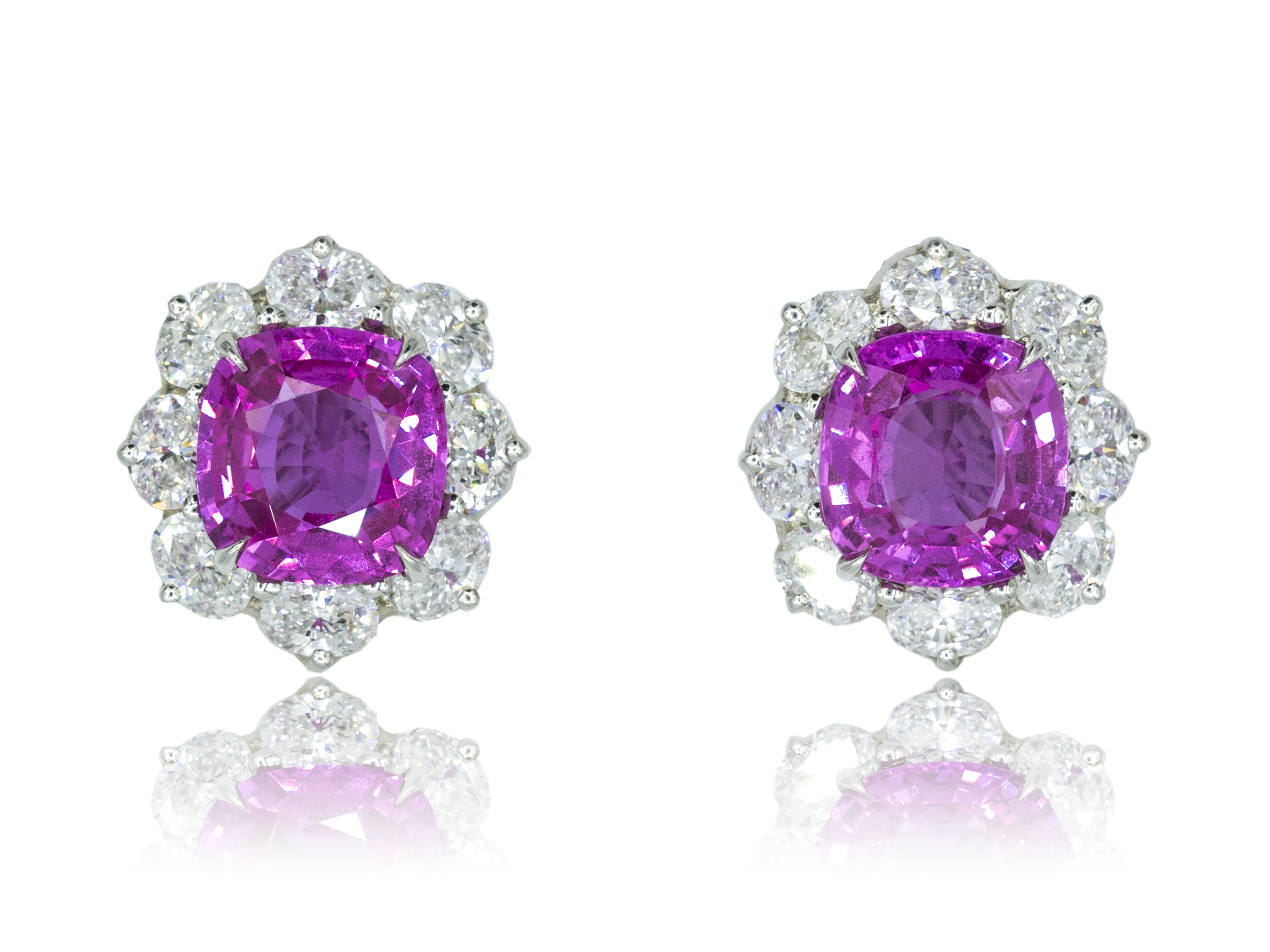 Floral pink sapphire and diamond earrings