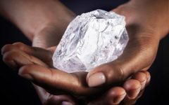 Lesedi La Rona Diamond held in two hands