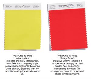 Pantone colors meadowlark and cherry tomato