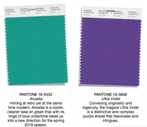 Pantone colors Arcadia and ultra violet