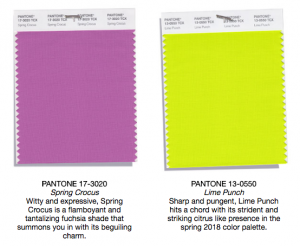 Pantone colors spring crocus and lime punch