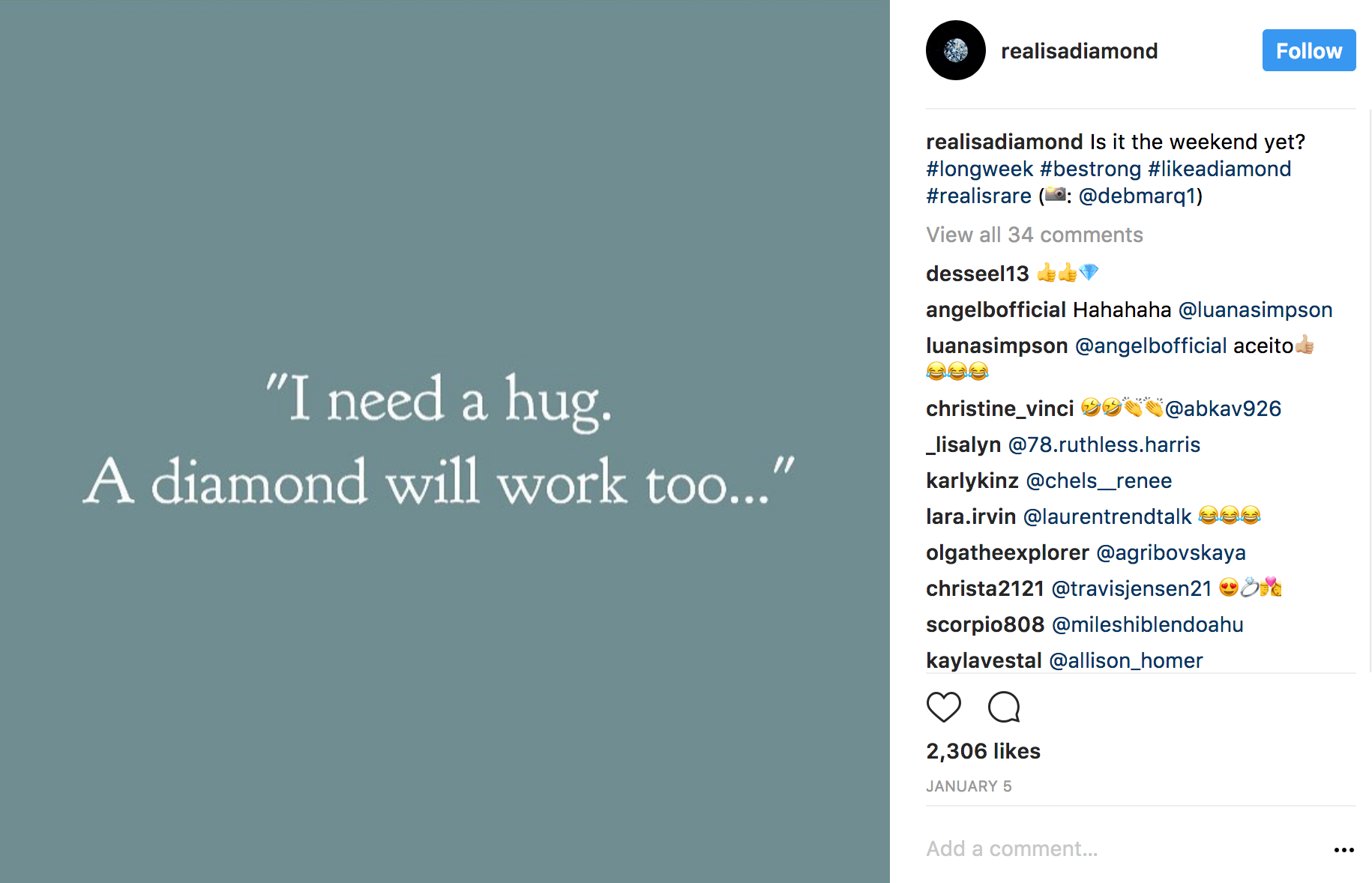 Realisadiamond Instagram hugs and diamonds