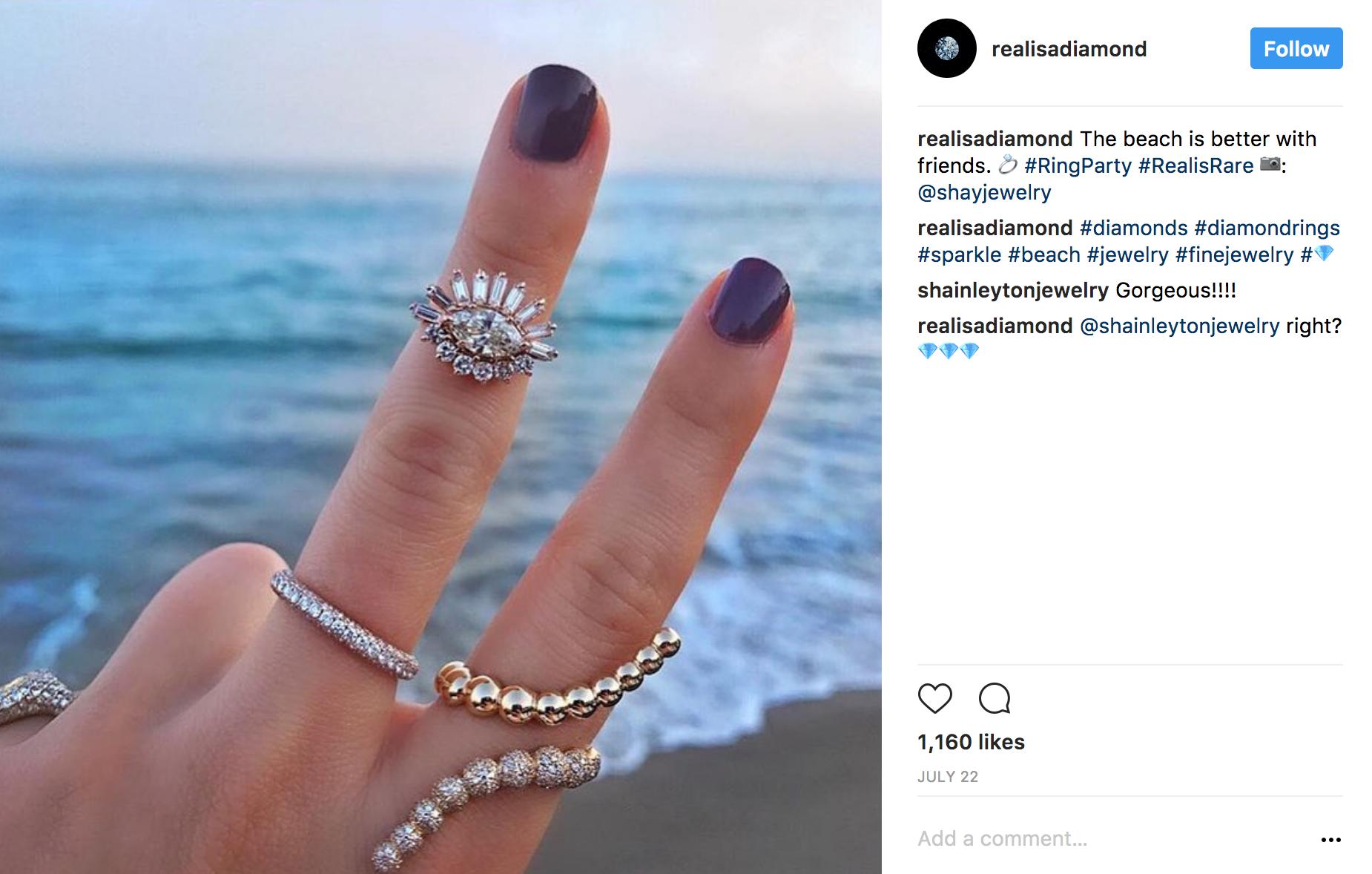 Realisadiamond Instagram beach