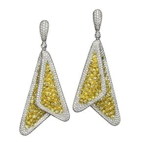 Butani briolette earrings with yellow diamonds