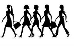 Women walking in a line illustration