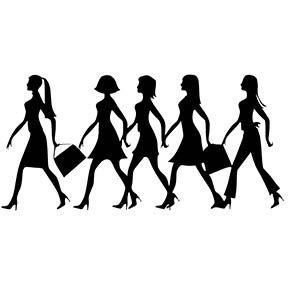 Women walking in a line illustration