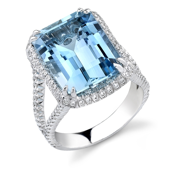 Omi Prive split-shank aquamarine cocktail ring