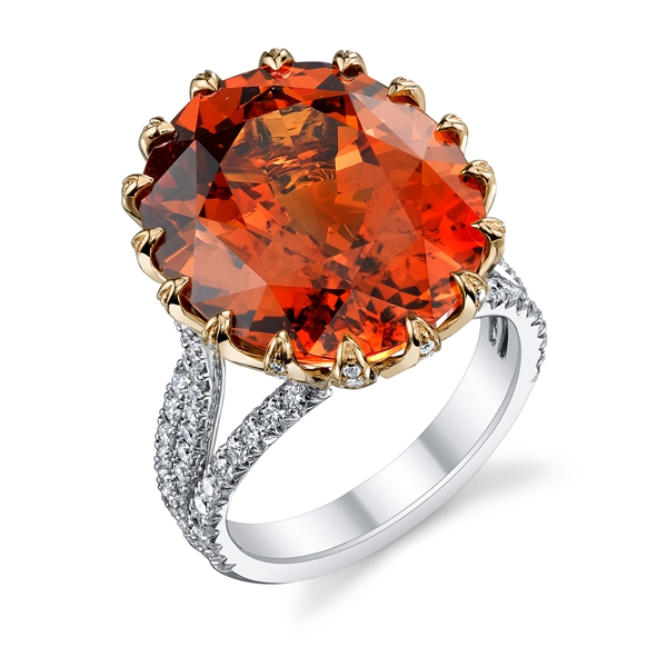Omi Prive diamond prong spessartite ring