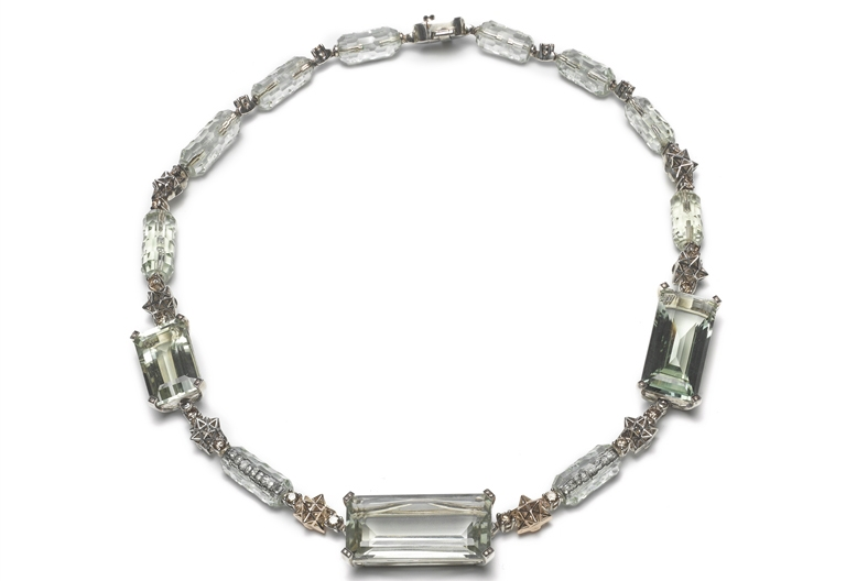 Bibi van der Velden aquamarine Art Deco necklace