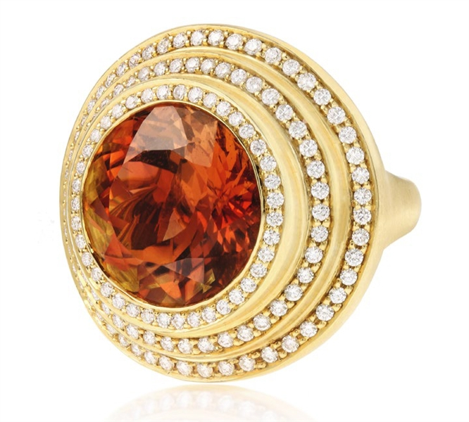 Carelle exotic tourmaline steps ring