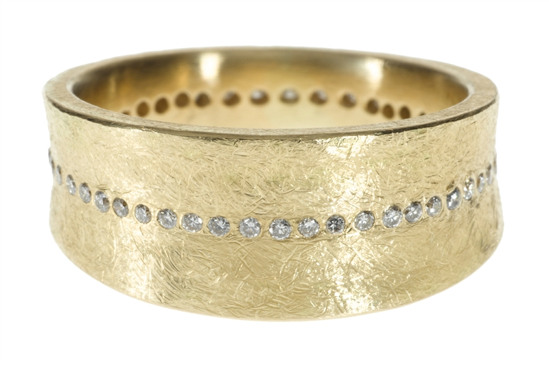 Todd Reed textured gold diamond band