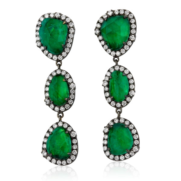 Yael Designs black gold emerald drop earrings
