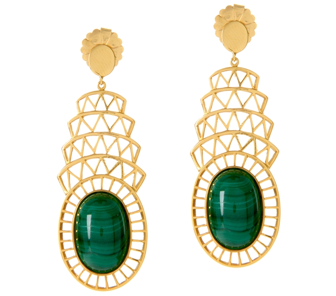 ALexandra Alberta malachite Chrysler earrings